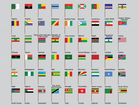 set of African countries flags  illustration Vector