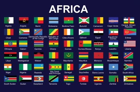 chad flag: set of accurate flags of Africa  illustration Illustration