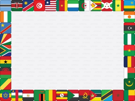 background with African countries flag icons frame vector illustration