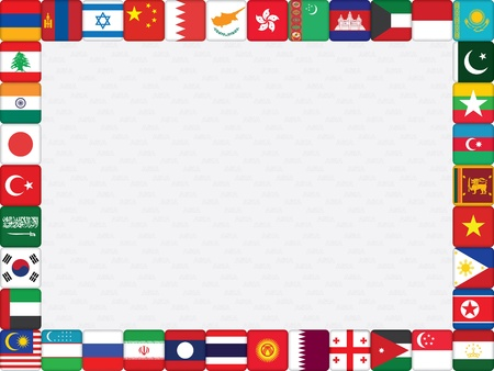 background with Asian countries flag icons frame vector illustration