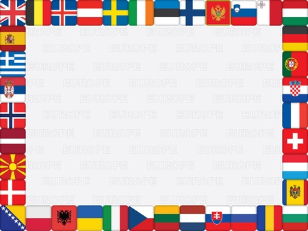 background with European countries flag icons frame vector illustration Stock Vector - 16399494