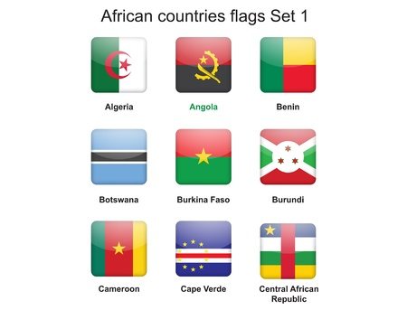 buttons with African countries flags set 1 Stock Vector - 16399498