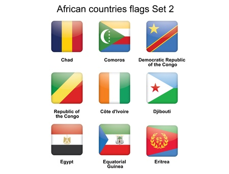 buttons with African countries flags set 2 Stock Vector - 16399499