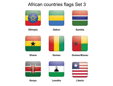 buttons with African countries flags set 3 Stock Vector - 16399500
