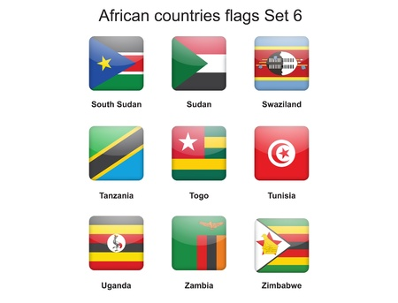 buttons with African countries flags set 6 Stock Vector - 16399481