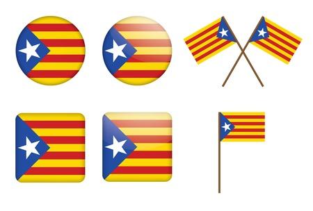 флагшток: Набор значков с флагом Каталонии independentist векторные иллюстрации Иллюстрация