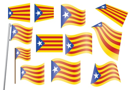 set of flags of Catalonia vector illustration