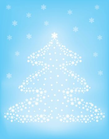 snowflakes Christmas tree over blue background vector illustration Stock Vector - 16458568
