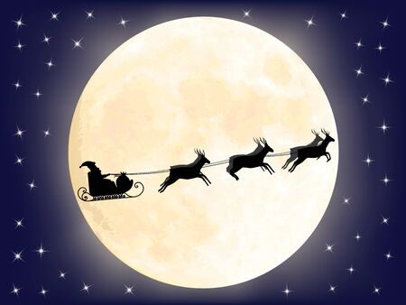 Santa Claus sledge over full moon Vector