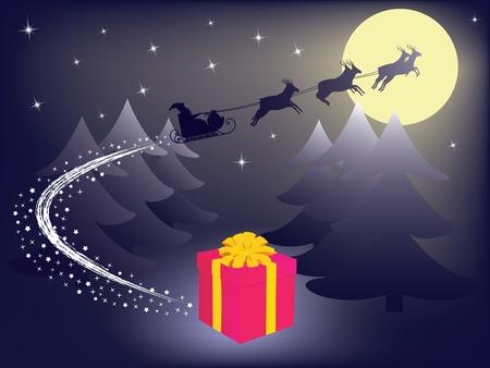 Santa Claus leaving gift vector illustration Stock Vector - 16488826