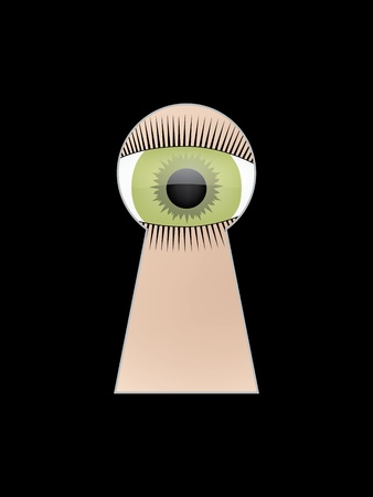 peephole: eye peep at key hole  illustration