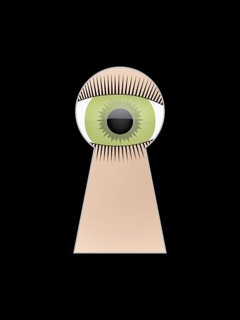 spying: eye peep at key hole  illustration
