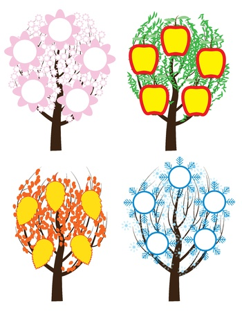 tree during four seasons vector illustration Vector
