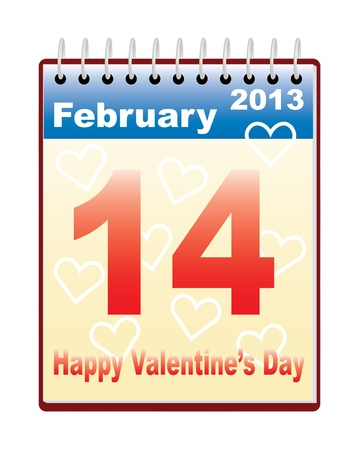 calendar with Day of Valentine date illustration Vector