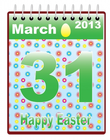 easter sunday: calendar with catholic Easter Sunday date vector illustration
