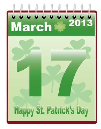calendar with St. Patricks Day date vector illustration Vector