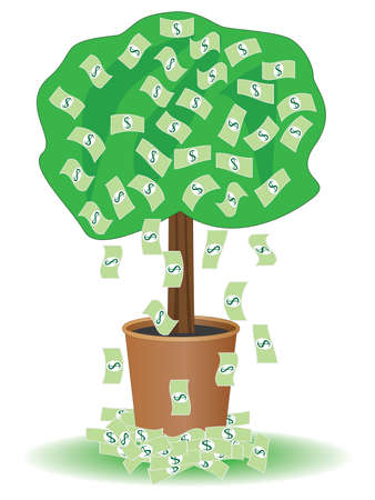 cash tree with falling dollars Vector