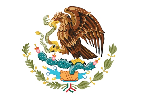 flag mexico: coat of arms of Mexico vector illustration
