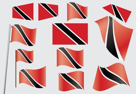 trinidad: set of flags of Trinidad and Tobago vector illustration