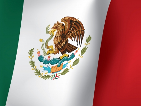 close up of waved Mexican flag vector illustration Vector