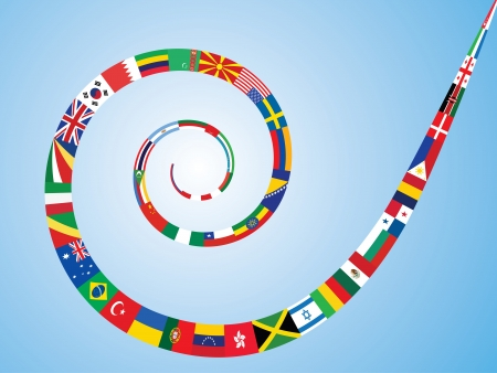 international flags: spiral made of world flags vector illustration