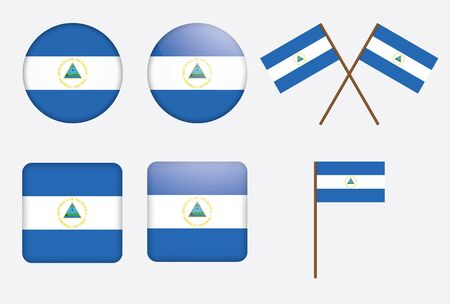 set of badges with flag of Nicaragua Vector