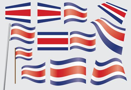 set of flags of Costa Rica  Stock Vector - 16944554
