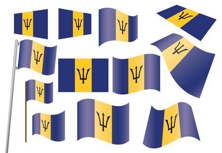 флагшток: набор флагов Барбадоса векторные иллюстрации