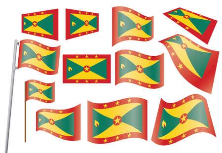 grenada: set of flags of Grenada vector illustration