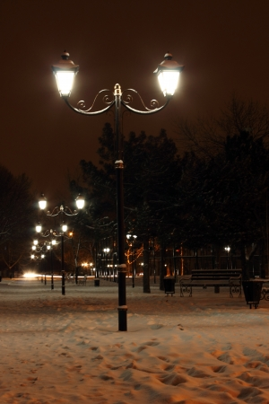 row of lanterns in park at winter night Stock Photo - 16977974
