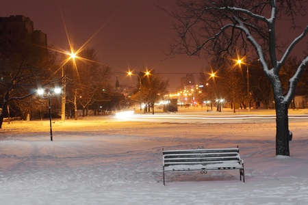 street of town at winter night photo