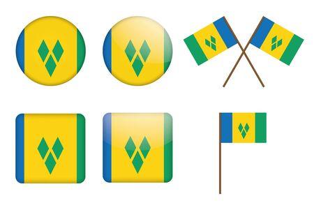 grenadines: set of badges with flag of Saint Vincent and the Grenadines Illustration
