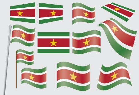 suriname: set vlaggen van Suriname