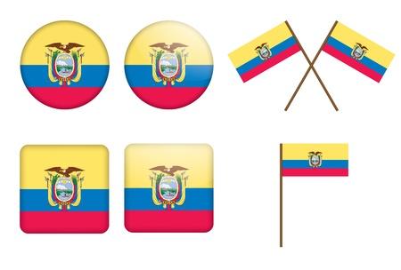 ecuador: set van badges met vlag van Ecuador