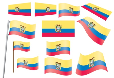 set of flags of Ecuador  Vector