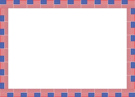 patriotic border: marco hecho de banderas de Estados Unidos