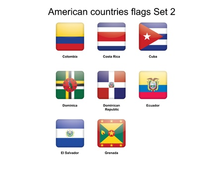 republic of ecuador: buttons with American countries flags