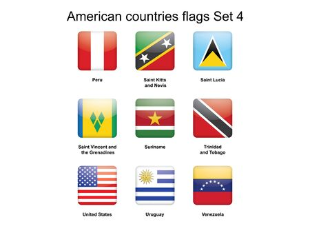 buttons with American countries flags Set 4 vector illustration Stock Vector - 17310592