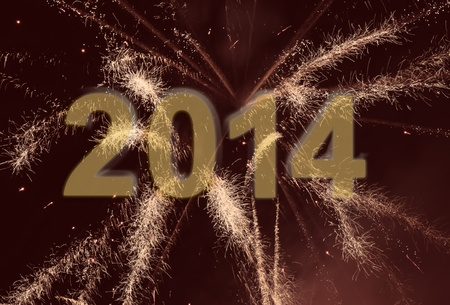New Year 2014 background with fireworks