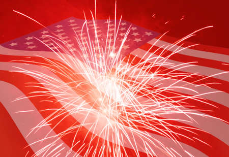 Fourth of July holiday background with fireworks photo