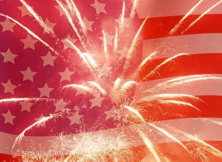 Independence Day holiday background with fireworks Stock Photo - 17329800