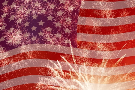 fourth july: fireworks over United States flag Stock Photo
