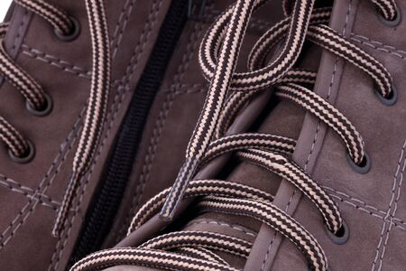 leathern: close up of laces on female leathern shoes