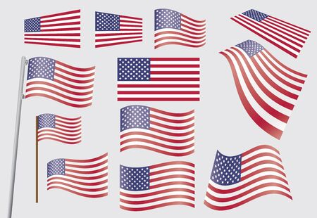 flagpole: set of United States flags  illustration