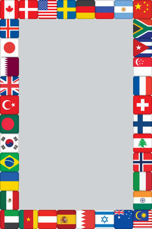 frame with some of world flags icons