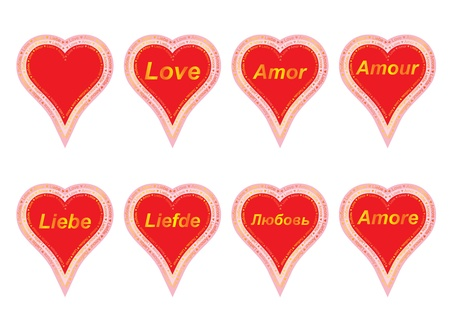 set of valentines with word love in several languages Stock Vector - 17420267