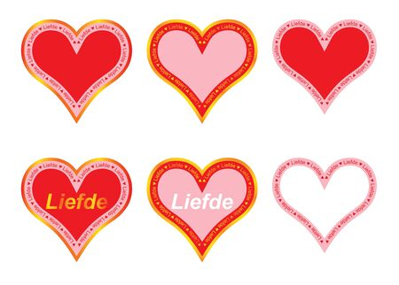 set of valentines with word love in Dutch Stock Vector - 17420257