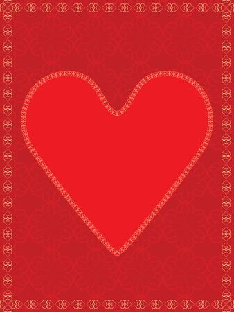 red valentine over abstract background with golden frame Vector