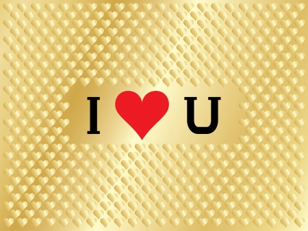 I love you over golden background Vector