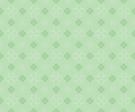 goodluck: seamless pattern for St Patricks Day with four leaf shamrock leaves